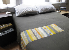 J Rogers Quilt (michelamaxwell) Tags: yellow modern grey bed quilt shot cotton napoleon suitcase