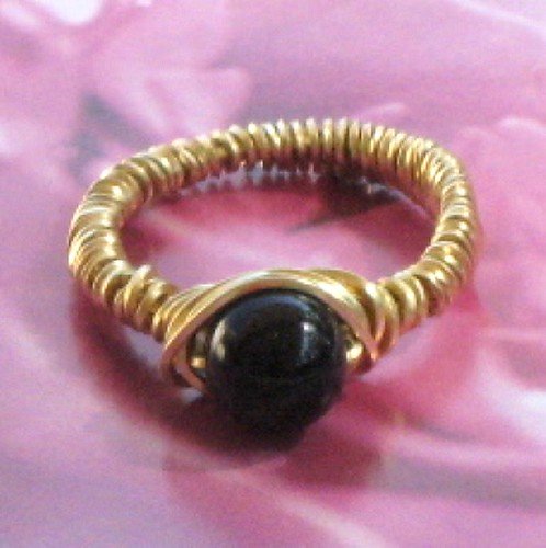 Black Onyx In Gold Filled Ring