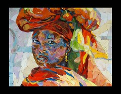In a Village (Carol Shelkin, Artist) Tags: africa orange woman color art philadelphia glass girl smile portraits gold eyes artist village african mosaic fineart  mosaics stainedglass jewelry mosaico piercing tiles ethiopia gaze earing villagegirl millefiori commissions blackisbeautiful africanwoman womanofcolor babile africangirl ericlafforgue wwwcarolshelkinmosaicscom carolshelkin shemightbeaprincess lookslikeaprincess villagagirl wwwcarolshelkinmosaiccom carolsoritzshelkin carolshelkinmosaics