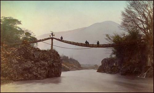 WISTERIA BRIDGE OVER THE FUJI RIVER in OLD JAPAN