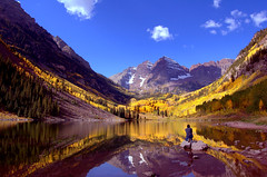Autumn at Maroon Bells (ladyloneranger) Tags: mountains reflection colorado rockymountains autumncolor maroonbells maroonlake searcjthebest ladyloneranger nikond40