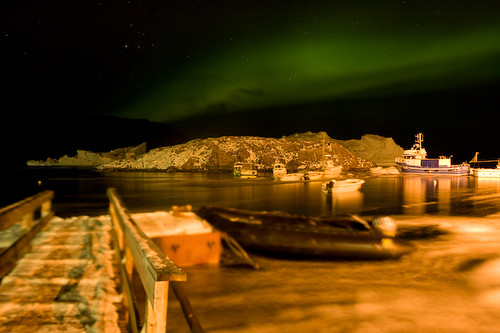 Northern lights over Uummannaq harbour