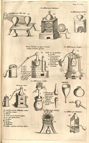 013- pag 810-Mundus subterraneus tomo II-Diferentes aparatos de destilacion