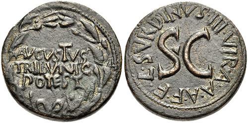 Augustus. 27 BC-AD 14. Æ Dupondius (26mm, 12.49 g, 4h). Rome mint