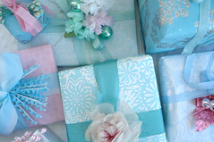 Wrapped Gifts 2008 (such pretty things) Tags: christmas pink wrapping aqua pastel balls stamens gifts presents bow ribbon giftwrap shabbychic mercuryglass seambinding millineryflowers