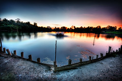 F-pond 2 (the-earth-colors) Tags: sunset lake fish seascape water photoshop canon pond stream fences waters efs 1022mm hdr fishpond waterscape cs3 10mm efs1022mm photomatix flickrclassique photomatix31
