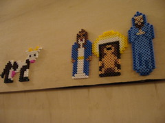 Perler Bead Christmas Crib - Joseph And Maria