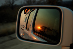 Sunset over C44 (sverremb) Tags: africa sunset car mirror safari namibia kalahari c44 grootfontein tsumkwe