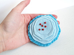 Mon Amour Brooch (blue) (Ula~) Tags: blue flower art yellow modern felted design handmade sewing brooch sew felt accessories etsy owndesign flowerbrooch madebymyself