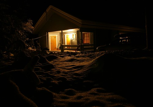 A cottage at night