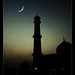 Crescent moon and a Mosque