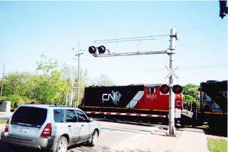 Westbound Canadian National freight train. North Riverside Illinois. May 2006.