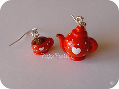 It's Tea Time My Love! earrings, red and white (*Merylu*  PetiteFraise) Tags: red white cute love cup handicraft dessert heart time tea drink handmade craft jewelry bijoux valentine polka dot jewellery fimo clay teapot earrings polymer orecchini petitefraise merylu