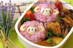 Fluffy lambs bento (luckysundae) Tags: kawaii bento obento facefood charaben kyaraben おにぎり おむすび キャラ弁