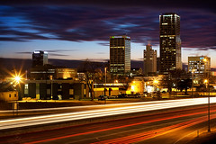 This City Comes to Life (clay.wells) Tags: pink blue winter cloud motion blur cold building bus face car rock skyline clouds america truck sunrise canon buildings eos 50mm dawn frozen interesting highway bravo long exposure cityscape purple cross traffic little metro clayton january wells explore national hour transportation freeway vehicle shield arkansas interstate bluehour f18 noise streaks stephens investment 2009 metropolitan ef regions reduction bigmomma supershot img1289 40d challengeyouwinner i630 photofaceoffplatinum pfogold thechallengefactory mar09pfobrackets