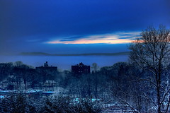 Am I feeling blue? (Wei Zhang@Hudson) Tags: blue sunset cloud mountain snow ny newyork tree mall river town nikon hill hudsonriver hudson soe hdr westchester ossining  d40 zhangwei
