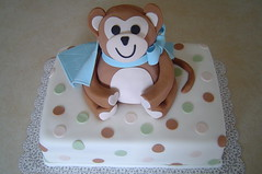 Baby Shower Monkey Cake (It's All About the Cake) Tags: baby cake polkadots babyshower fondant monkeycake 3dcake boybabyshower