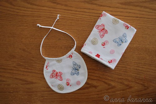 butterfly bib and burp cloth
