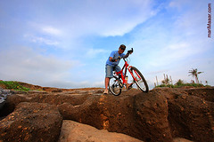 begin the adventure (ツMaaar) Tags: man stone landscape exercise hobby adventure riding bycicle wideangel