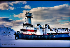 Ice Bound Tug (Craig - S) Tags: blue winter red sky painterly cold ice clouds canon river eos rebel boat frozen ship michigan explore tug gregory hdr busch lightroom photomatix 5photosaday icebound riverwinter greatshotss sterk1 gregoryjbusch