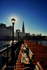 "Life Is Illuminating! (Little Italy Photography) Tags: sanfrancisco california light sky sun sunlight reflection lamp bay pier nikon streetlight glow waterfront skyscrapers gothic towers historic financialdistrict lamppost embarcadero sanfranciscobay lit benches transamericabuilding eclispe gothicstyle nikond60 woodenplanks woodplanks beauxartsstyle ""nikonflickraward"" nikondsl nikkorafsdx1855mmf3556gvr fdlfluorescentfilter scenictreasures wodenbenches thatsmyphotocontestwinner"