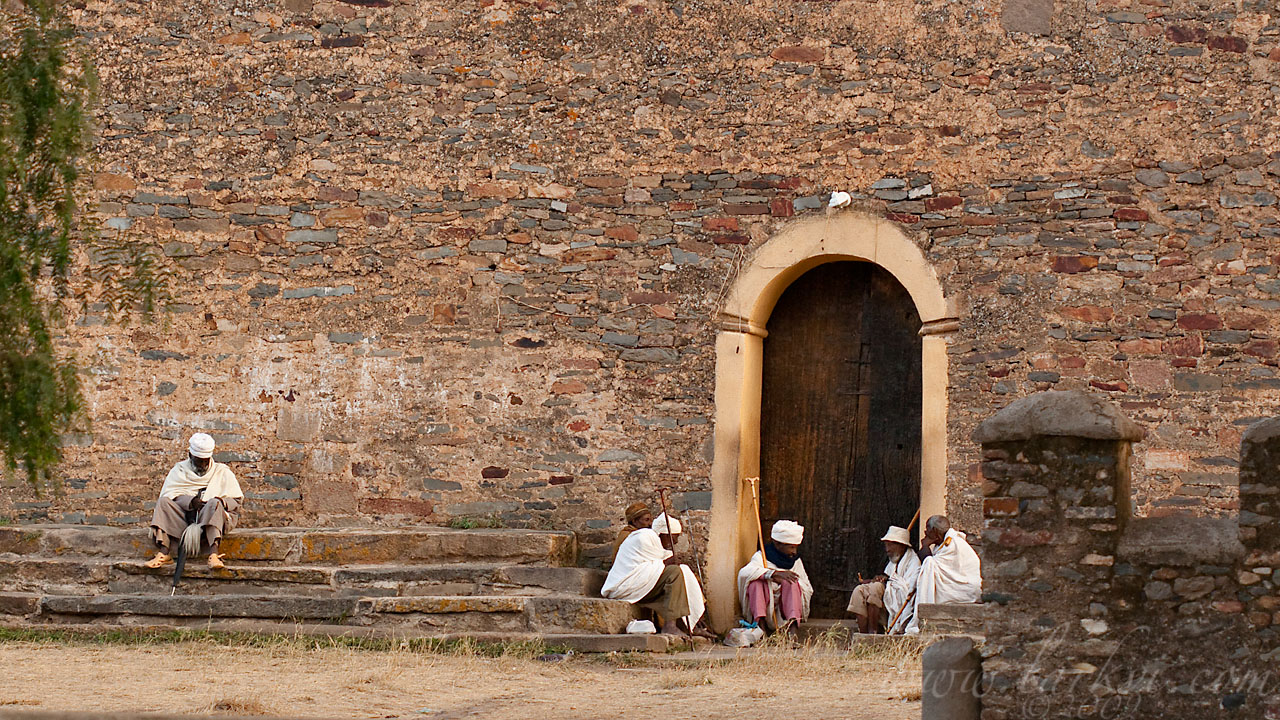 Waiting for services at the Old Church of St. Mary of Zion, Axum, Tigray, Ethiopia, April 2009