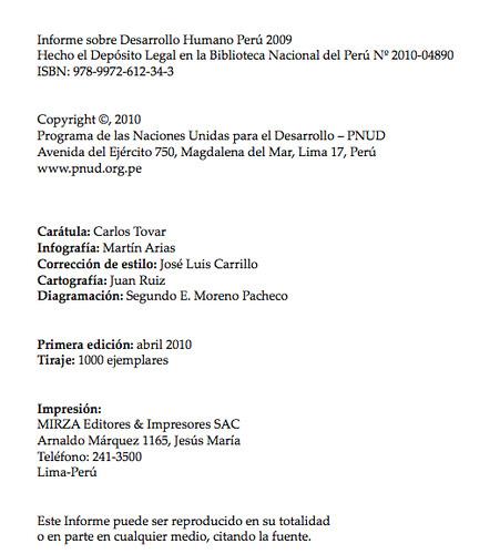 Informe de desarrollo humano Perú 2009