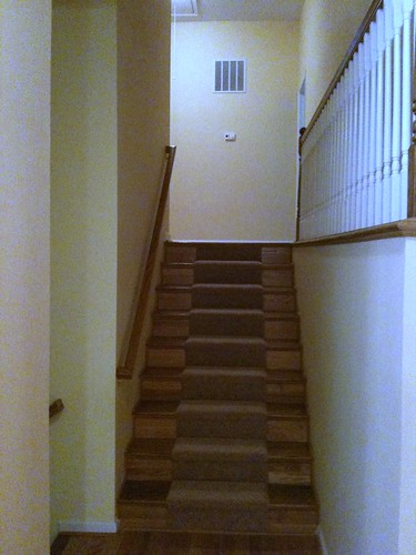 Old stairs with banister.