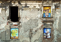 walls speaking (Azadeh Asaran) Tags: windows wall paintings slovakia bratislava vangogh oldbuilding