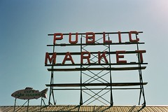 Public Market. (a walk across the rooftops) Tags: seattle sky color film sign 35mm washington nw pikeplacemarket polarizer fishmarket pikestreet rollei35 ektar publicmarketsign