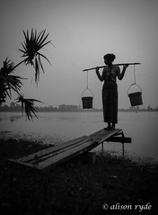 collecting water at dawn (alison ryde - back in town for now) Tags: life voyage travel holiday dawn mono asia cambodia southeastasia palm sillouette dailylife angkor watercarrier 2014 srasang