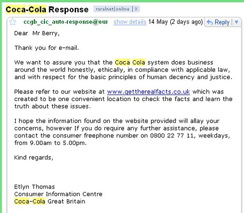 Coca Cola's reply
