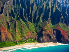 Enthralling Na Pali (Walt K) Tags: ocean orange green beach hawaii coast tour pacific turquoise helicopter kauai kalalau napali bluehawaiian waltk