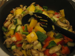 veggie mix sauteeing