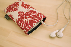 iPhone in my Fabrix Red Damask Sleeve by fabrixcases