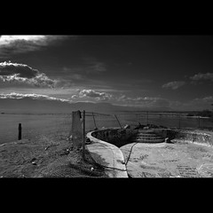 exploration : Salton Sea, North Shore - the ominous view (tofu_minx) Tags: shadow sun broken pool clouds contrast swimming blackwhite afternoon curve exploration soe decayed saltonsea bwdreams diamondclassphotographer flickrdiamond