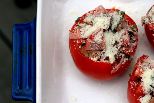 waiting to be baked tomatoes