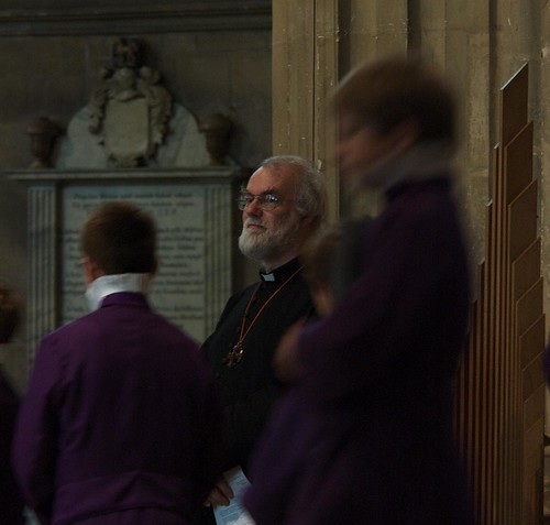 +Rowan Williams at the entrace of the choir for evensong. ACNS/Gunn