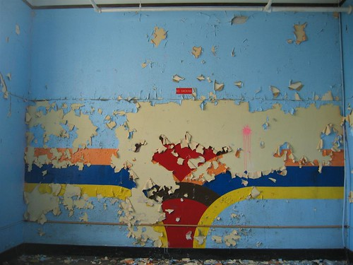 Classroom mural with peeling paint