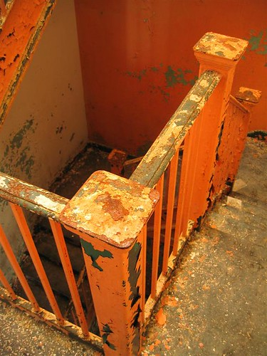 Dilapidated stairwell banister