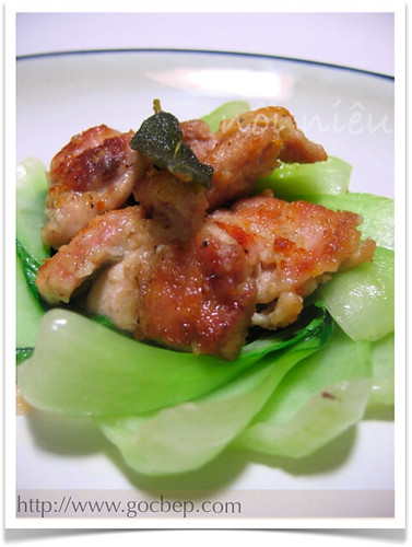 Pan fried chicken with sage