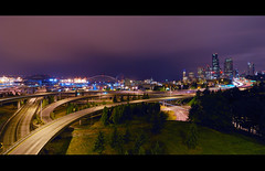 Seattle Skyline (donjiva(away)) Tags: seattle longexposure night washington nikon nightshot i5 wideangle qwestfield safecofield letterbox i90 downtownseattle seattleskyline d40 d40x tokina1116mm