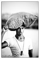 Fully loaded (Khalid AlHaqqan) Tags: old boy sea heritage water canon kid traditions pearls oysters kuwait heavy load past khalid carry 70200mm f28l 40d kuwson alhaqqan kvwc qiffal