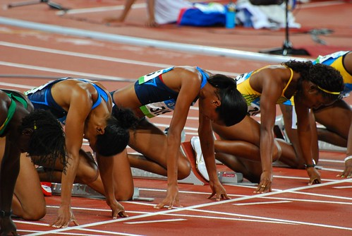 On your mark .. 100m women's