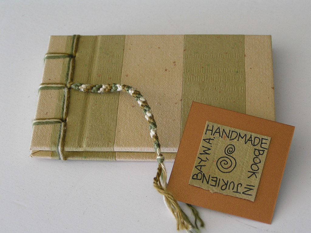 Mini Hand Bound Book with Recycled Handmade Paper on Cover