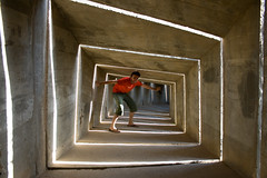 Mon chri (Shemer) Tags: friends light sculpture man monument architecture square concrete vanishingpoint geometry tunnel matthieu maze colourful shemer  beershevawinner shimritabraham