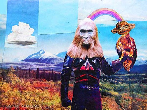 LARRY CARLSON, King of Beasts, collage on paper, 2005.
