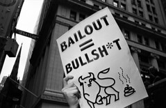 (krameroneill) Tags: nyc film 35mm flash trix protest wallstreet scam leicam2 bailout noquestionsasked ponzischeme skopar35c subprimeloans krameroneillcom 700billion maybe1or2trillion