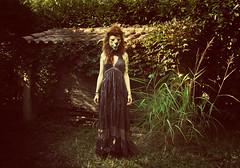 Lion in dress (Iris Syzlack (AKA Fifi Patchouli)) Tags: animal tattoo sepia garden alone dress mask robe lion jardin fifi masque seul tatouage patchouli dbarras fifipatchouli