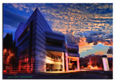 Tucson Main Library 2 (L Geoffroy) Tags: city morning blue light red arizona cloud southwest art museum clouds photoshop sunrise buildings landscape lights purple desert tucson library sony scenic sunrays reflexions soe hdr cs3 westerntown photomatix tonemapping tonemap hdrpool ultimateshot tucsonlibrary dslra350 dslr350 lgeof